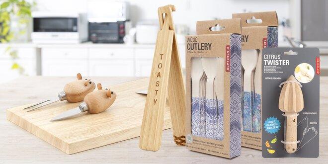 Dřevěné nádobí: příborové sety, twister i miska