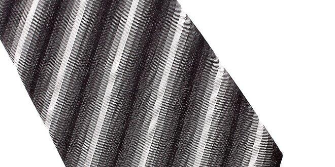 Pánská šedo-bílá proužkovaná hedvábná kravata Pietro Filipi ... 604d93ce3d