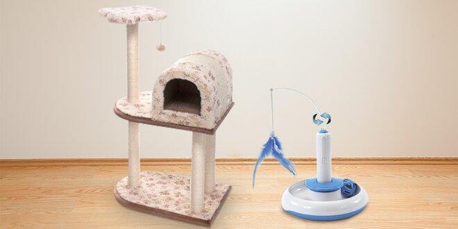 Škrabadlo s domečkem a interaktivní hračka pro kočky