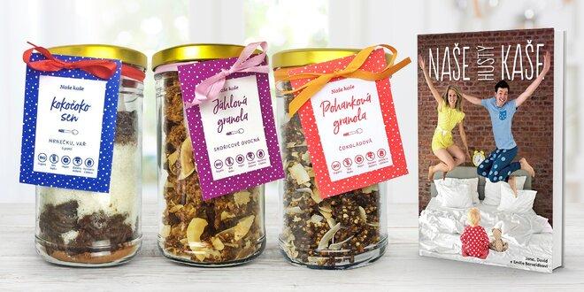Zdravé křupavé granoly a kaše i s kuchařkou a miskou