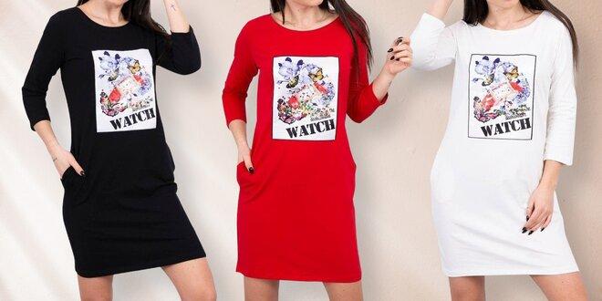 Dámské bavlněné šaty s 3D grafikou a kapsami