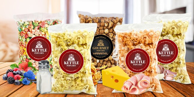 Ručně vyráběný popcorn: šunka-sýr, slaný i sladký