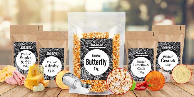 GMO free popcorn, slané příchutě i máslová sůl