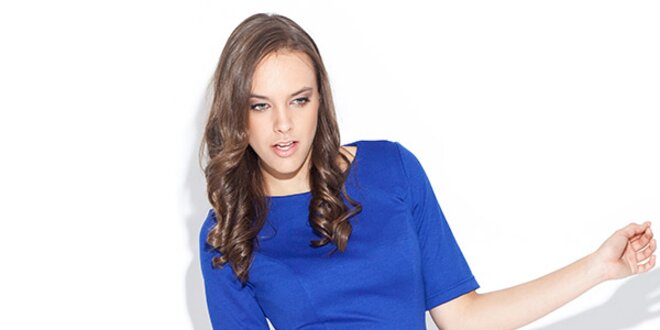 Dámské modré peplum šaty Katrus