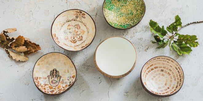 Designové kokosové misky s mozaikou: 500–600 ml