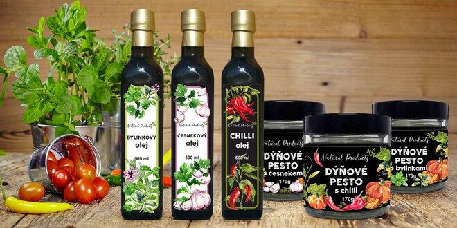 Dýňové pesto s chilli i česnekem a oleje s bylinkami