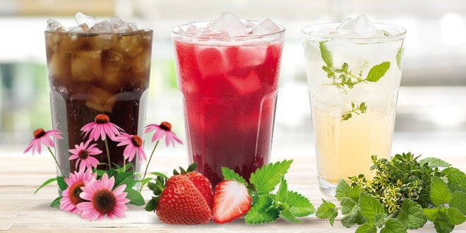 Ovocné či bylinkové sirupy s třtinovým cukrem