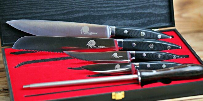 Sada 4 nožů Dellinger s ocílkou v dřevěné krabici