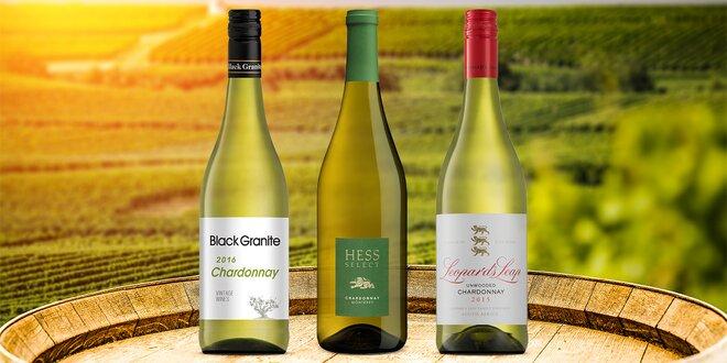 3× Chardonnay z USA a Jihoafrické republiky