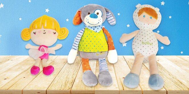 Měkké plyšové hračky: panenky, chrastítka i medvídci