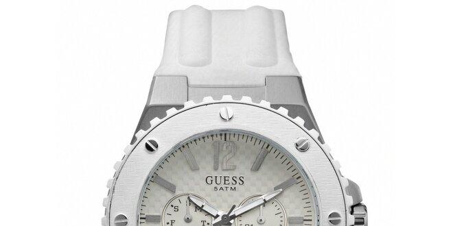 Pánské bílé analogové hodinky s chronografem Guess