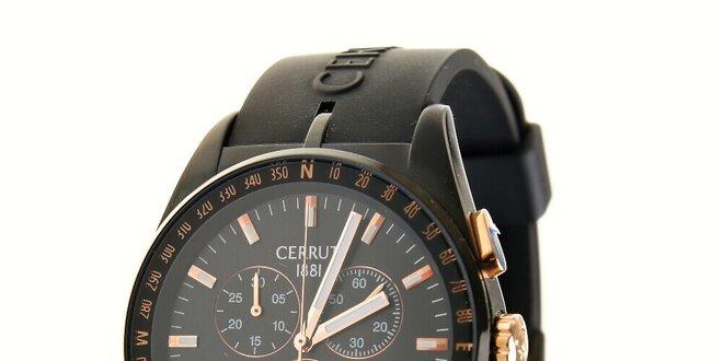fc02fb90a1a Pánské hodinky Cerruti 1881 s pryžovým řemínkem a zlatými detaily ...