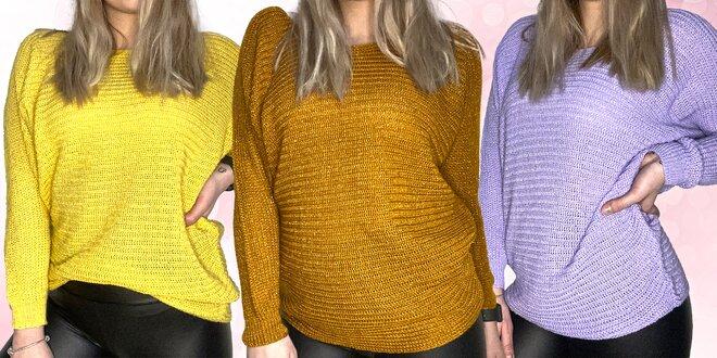 Slušivý dámský svetr s netopýřím rukávem: 18 barev
