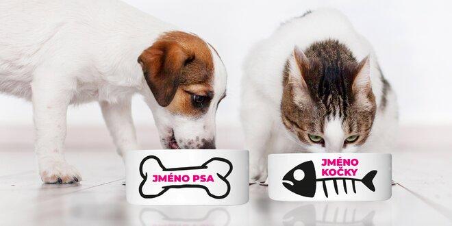 Kočičí nebo psí miska se jménem vašeho mazlíčka