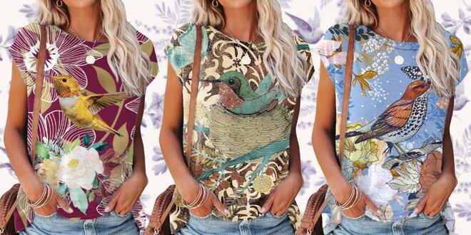 Dámské tričko s ptáčky: příjemný materiál, 5 vzorů
