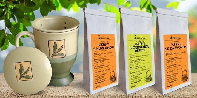 Hrnek a originální čajové směsi bez aromat