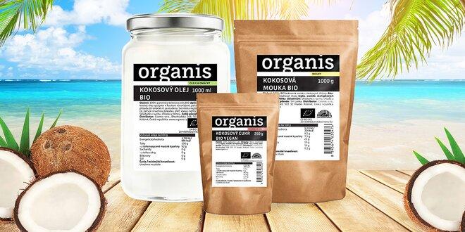 Bio kokosový panenský olej, kokosová mouka i cukr