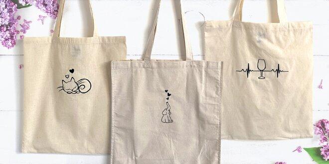 Přírodní plátěné tašky z bavlny s nápaditou výšivkou