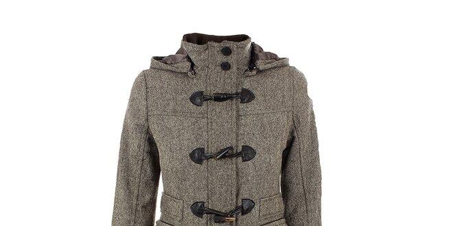 Dámský hnědo-béžový tvídový kabát s kapucou Company&Co