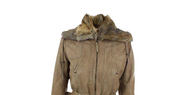 Dámský hnědo-béžový kožený kabát Company&Co
