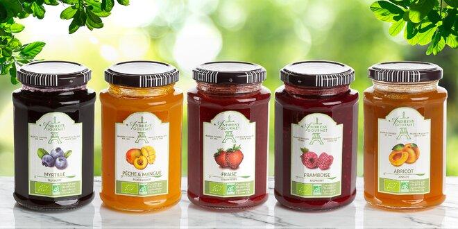 Francouzské bio džemy: meruňka, borůvka i jahoda