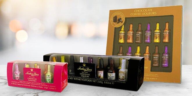 Čokoládové lahvičky s alkoholem světoznámých značek