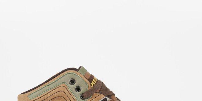 Pánské koňakově hnědé kožené tenisky se zelenými detaily Diesel
