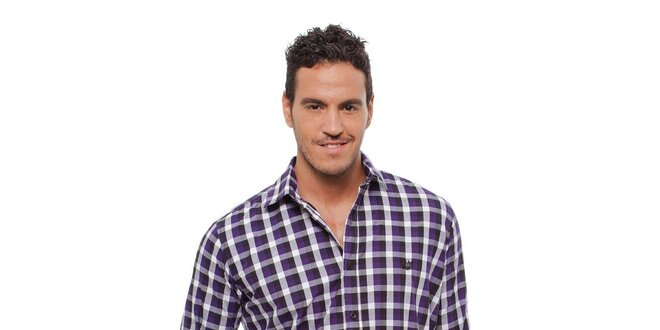 Pánská fialovo-černá kostkovaná košile Bendorff