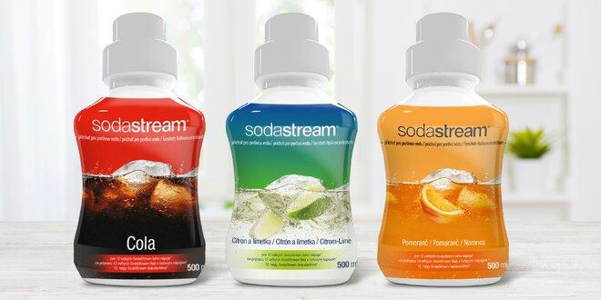 Sirupy Sodastream: cola, pomeranč, citron a limetka