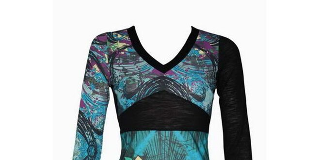 d97d0107fe1a Dámské modro-černé šaty Smash s potiskem