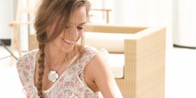 Dámská bílá košilka s květinovým potiskem Agio