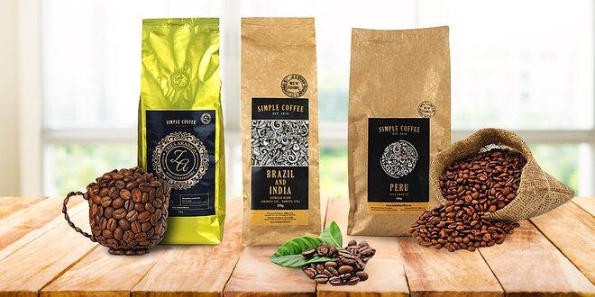 Zrnkové kávy ze slovenské pražírny: set až 4 druhů