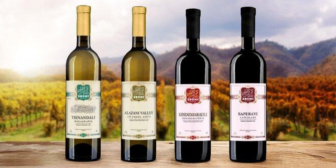 Sety vín z Gruzie: bílá, červená, suchá i polosladká