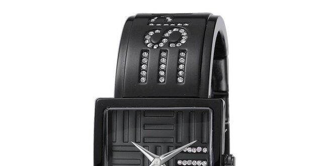 Dámské černé hodinky s bílými krystaly Esprit