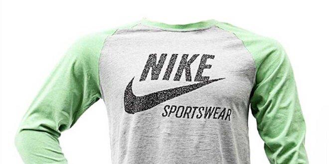 8b28cca03447 Pánské šedo-zelené triko Nike
