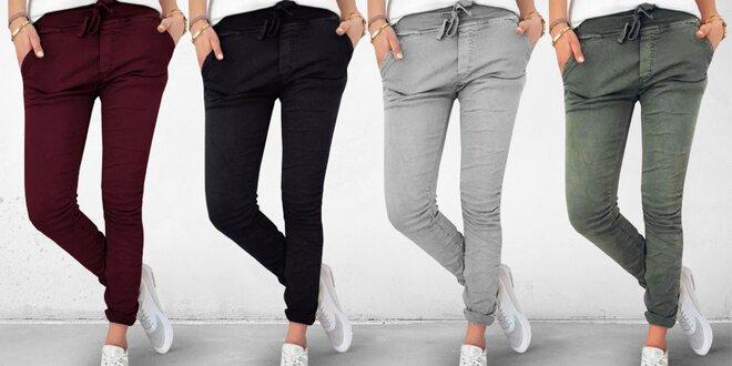 Super stretch dámské kalhoty slim střihu