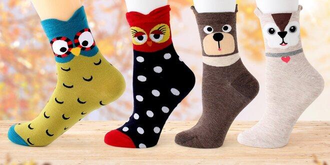 Veselé ponožky se zvířátky ve velikostech 35-40