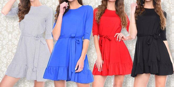 Bavlněné šaty s ¾ rukávy a páskem, 4 barvy