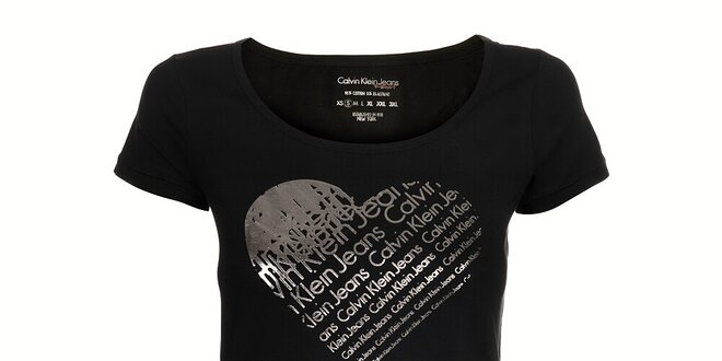 e16289fc9 Dámské černé tričko Calvin Klein se stříbrným potiskem | Slevomat.cz