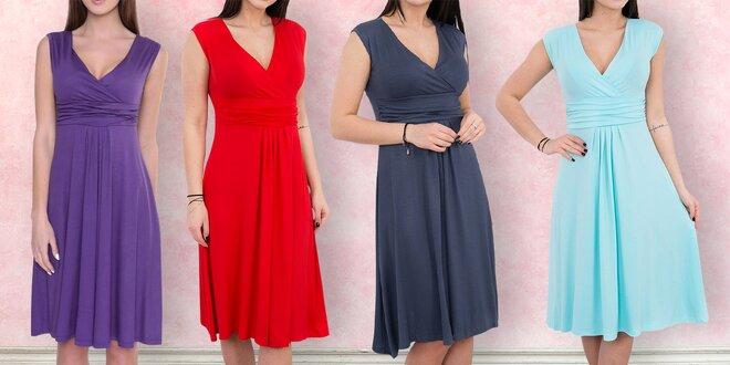Šaty bez rukávů s nařaseným dekoltem - 7 barev