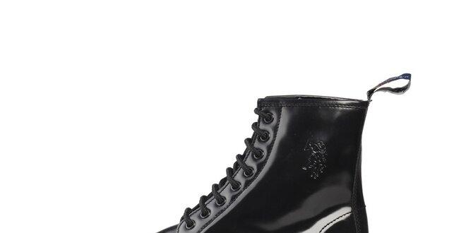 Pánské černé lakované šněrovací boty U.S. Polo