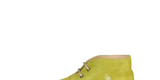 Pánské limetkově zelené kotníčkové semišové boty U.S. Polo