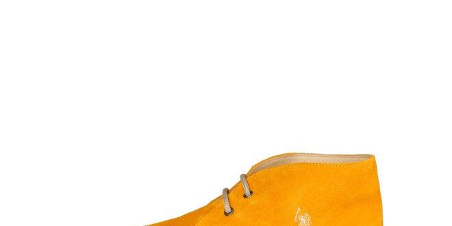 Pánské tmavě žluté kotníčkové semišové boty U.S. Polo