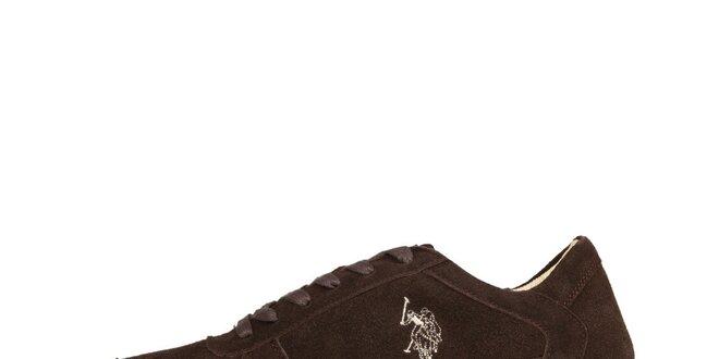 Pánské tmavě hnědé semišové šněrovací boty U.S. Polo