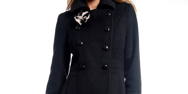 Dámský černý kabátek s květinou Estella  4eede53f8d4