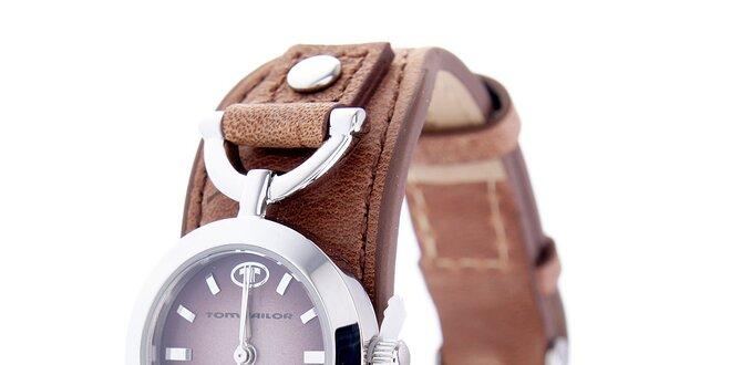 Dámské hodinky Tom Tailor s hnědým koženým řemínkem