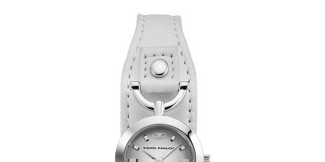 Dámské ocelové hodinky Tom Tailor s bílým kožený páskem