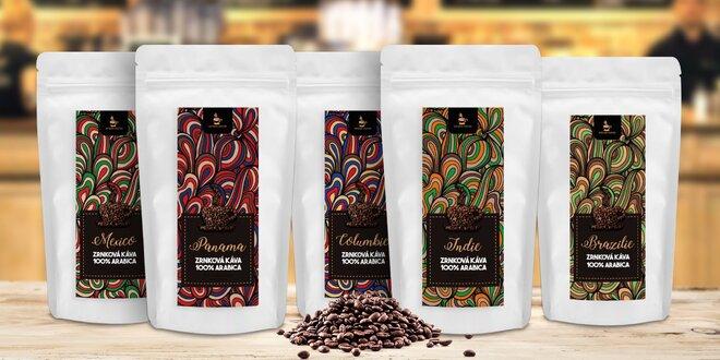 Balíček 5 vybraných druhů zrnkových káv z plantáží
