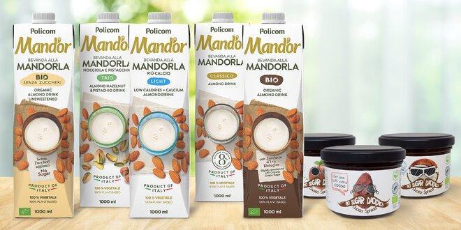 Mandlové nápoje a kakaové krémy bez přidaného cukru