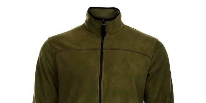 Pánská tmavě zelená fleecová mikina Bushman  048fd9759a